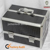 MLD-CC265 Lightweight High Quality Artist Safety Black alligator skin Aluminium Cases For Cosmetics
