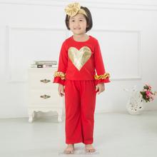 2015 kids halloween clothing designer 100%cotton pumpkin appliqued outfit chevron ruffle pant sets