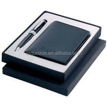 Gift Fashion Promotion Wholesale promotionals product/promotion pu leather business card holder and pen gift set