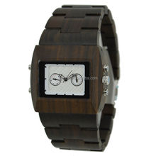 Whole date calendar display chronograph square big size black sandalwood wooden mens watch