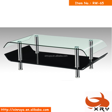 Black and transparent glass double layers bending glass coffee tables