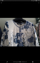2015 Blue flower Ramie cotton fabric Open-Placket Patterned Tunic Spring Dress