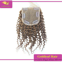 4x4 inch free/middle /three parting medium brown lace closure with clips