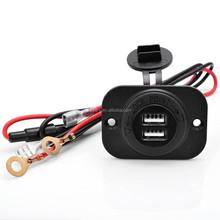 12V Waterproof Power Outlet Cigarette Lighter Socket 2.1A Dual USB Charger Panel Flush Mount For Benelli Aprilia KTM BMW