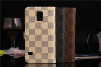 Plaid pattern Magnetic Flip Leather Pouch Wallet Case Cover For Galaxy S5 i9600