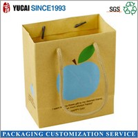 Creative design Yellow paper blue apple printed gift bag