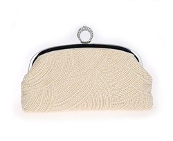2015 Gorgeous Bridal Women's Beaded clutch Bag Imitation Pearls Finger Ring evening party Purse