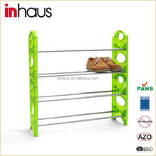 2015 Modern wholesale cheap compact vertical waterproof four-layers coner stackable portable steel plastic shoe rack shelf