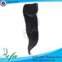 Natural black virgin brazilian straight cheap human hair lace closure