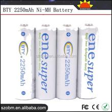 2250mAh Ni-MH Rechargeable AA Batteries - 4 Pcs