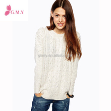Woman sweater Knitting Pattern for Lady Eyelet Lace/Cable Sweater Aran