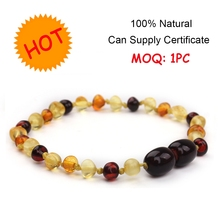 1 Piece Instock Wholesale Baby Jewelry Teething Beads Mix Order Natural Baltic Amber Bracelet