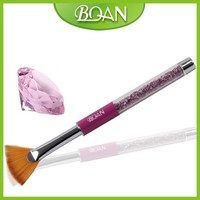 BQAN 2015 Acrylic Metal Handle with Violet Diamonds Nail Art Fan Nail Brush