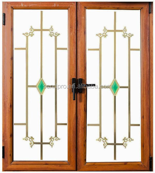 Double glass wood grain aluminum window grill design buy for Window design wooden