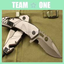 Matte Grey Titantium Liner lock Partialy Serated Folder Pocket Knife