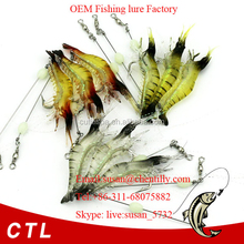 CH14SF4 Silicone Shrimp prawn lures pike cod bass salmon sea fishing GLOW in drak