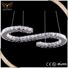 modern crystal fashion hanging led ring lamp