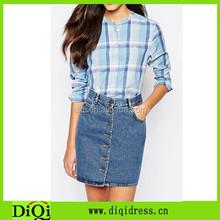 Women's 100% cotton collarless plaid shirt