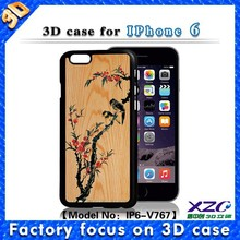 Best 3D effect design PC phone case for iphone 6, wholesale case with grain and bird
