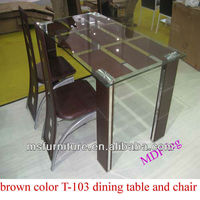 Promotion modern unique model glass dining table with 4 legs