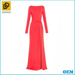 2015 fashion chiffon evening dress with long sleeve for fat women