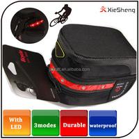2015 Black Bike Bag Bicycle saddle bag with led warning light