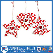 star heart tree shape design Wooden Christmas star, xmas tree hanging ornament with metal bell