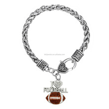 Fashion Sports Silver White Brown Crystals Enamel I Love Football Charm Bracelet