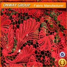 grace chemical lace fabrics, evening dress making lace, red chemical fabrics lace