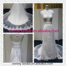 2015 New Arrival Custom made French Lace Cup sleeves Sweetheart Bridal/Wedding Gown Floor Length Ivory Wedding Dresses WB039