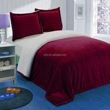 Hot selling Luxurious Large Warm Thick Sherpa Flannel Plush Quilted Bedding Set -Made in China