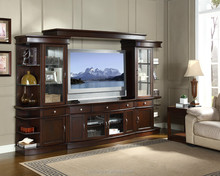 Hot selling Transitional Wooden Wall Unit Entertainment Center in Espresso finish for Northern American Market