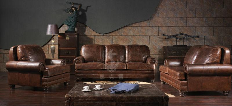 américain antique vintage style deux sièges brown couleur canapé ... - Wohnzimmer Vintage Style Braun