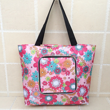 recycled polyester foldable bag with rainbow zipper