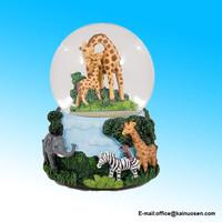 Giraffes Zebras and Elephants 100MM Music Water Globe