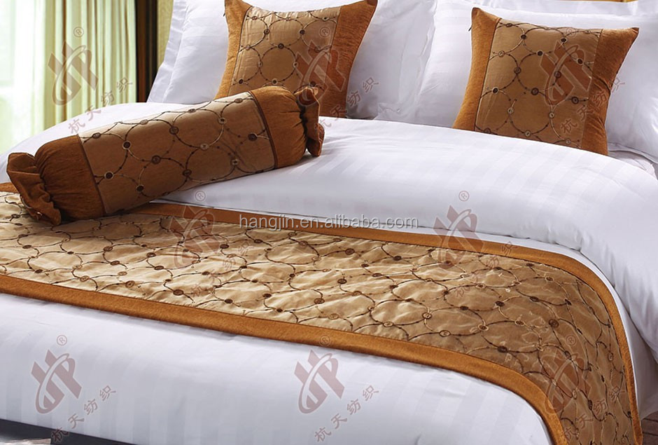 Luxury Organza Embroidered Bed Runner Cover Cotton Sofa