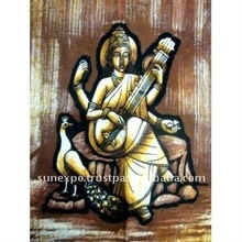 "Goddess of Art & Education Saraswati Indian Batik Tapestry Cotton Fabric Wall Decor Hanging 22"" X 16"""