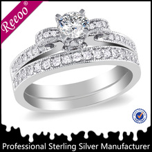 fashion jewelry silver wedding ring set for men and women