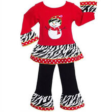 2015 New Style Wholesale Girls Winter Christmas Boutique Cotton Outfit With Zebra Ruffle Clothing