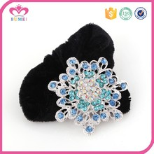 Wholesale lady's crystal scrunchies wide hair bands