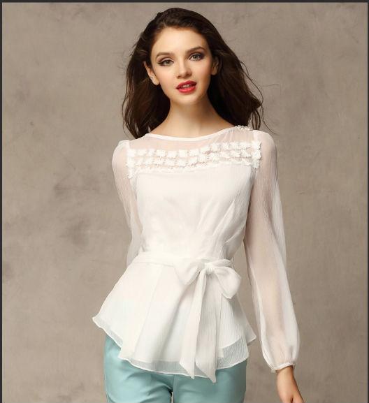 2014 nouveau style haut de gamme blanc image en mousseline de soie blouses femme v tements en. Black Bedroom Furniture Sets. Home Design Ideas