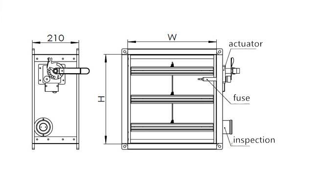 Motorized fire smoke damper for ventilation systems buy for Motorized smoke fire damper