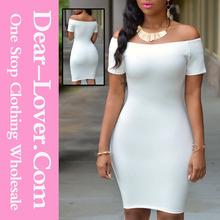 Mode gros blanc hors - la - épaule robe femmes vêtements fabriqués en turquie