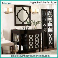 white wooden/plywood antique/classic/ornate carved matte lacquer/paint bathroom cabinet/ vanity / furniture