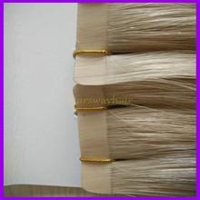 Natural loira cabelo humano virgem brasileiro extensões de cabelo fita com curta ribbions