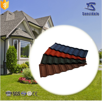 Fire resistant material stone coated steel roofing tile for Fire resistant roofing