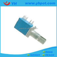 YH jiangsu 9mm sealed horizental b50k rotary potentiometer with metal shaft