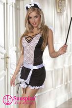 3piezas disfraz de criada incluye cofia vestido elástico de punto volante de corte en el hombro dobladillo delantal a juego