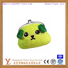 High quality plush cute dog coin purse with kisslock closure