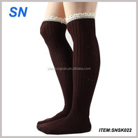 2014 wholesale Custom Knee High Socks with lace Trim